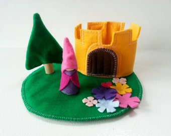 Princess And Her Castle - Wooden Felt Play Set- Felt Toy - Unique Stocking Stuffer - Felt Castle