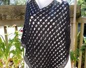 Handmade Poncho New, Handmade New Grey Poncho, Dark Gray Crocheted Poncho