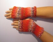 Fun Orange Colors Mix Hand Knit Fingerless Gloves