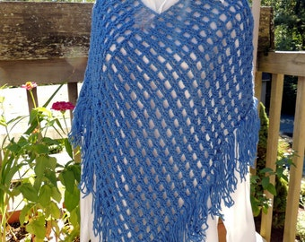 Handmade New Poncho Cranberry - Royal Blue Crochet Poncho - New Crocheted Poncho with Fringe