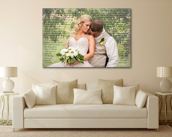 Wedding Vow Canvas, Wedding Song Canvas, Wedding Vows Framed, Custom Wedding Vows, Personalized Vows