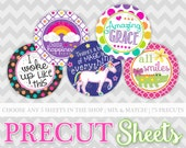 """Precut Bottle Cap Images - YOU CHOOSE any 5 sheets in my shop & receive 75 precut images - 1"""" circles on photo paper"""