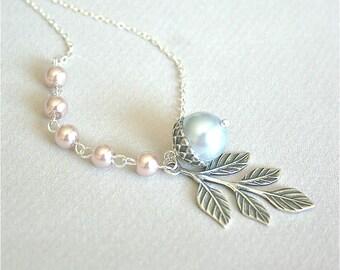 Acorn Branch Necklace, Acorn Pendant Necklace, Branch with Acorn, Pearl Necklace, Branch Necklace, Fall Necklace, Leaf, Sterling Silver
