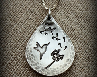 Hummingbird and dandelion necklace hand stamped and forged necklace
