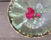 Ceramic Canape Plate Rustic Bowl Trinket Dish Soap Dish Drippy Green and Brown Ash Porcelain, Handmade Artisan Pottery by Licia Lucas Pfadt