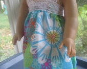American Girl Doll Clothes, blue flower nightgown for 18 inch doll