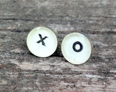 hugs and kisses post earrings   XO vintage dictionary letters   gift for valentine