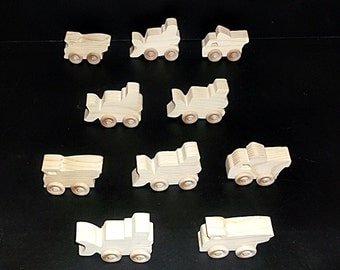 10 Handcrafted Wood Toy Bulldozers, Dump Trucks  OT-97  unfinished or finished