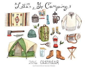 Let's Go Camping 2016 Calendar SALE 40% off