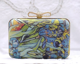 Irises by Vangogh Box Clutch Blue Green Orange Flower Party Colorful Floral Bag Birthday Gift Bridemaids Clutch Wedding Minaudiere