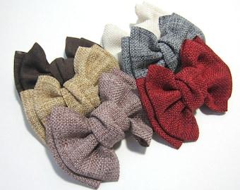 Burlap Tuxedo Bow Tie Hair Clip, Bow Hair Clip, Alligator Clip, Girls Hair Clip, Baby Hair Clip, Woman Hair Clip, 6 Colors to Choose From!