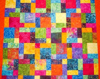 """Timeless Treasures """"Mini Bazaar"""" Tonga Batiks  Patchwork Quilt-Handmade Quilt   Made in USA by MJ Quilts"""
