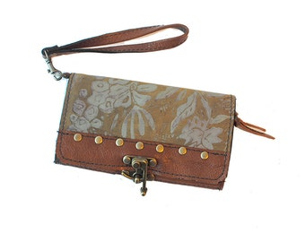 """Leather Clutch Wallet Wristlet Printed Floral In Toffee and Taupe """"Berlin Clutch"""" Ready to Ship"""