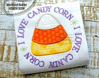I Love Candy Corn applique