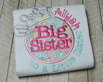 Big Sister to a little sister applique embroidery design