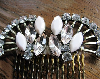 1920s headpiece | hair comb bridal | gold comb | rhinestone headpiece | art deco