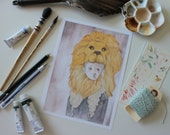 5x7. Luna. Fine Art Archival Print. Watercolor Illustration. Gryffindor Lion Hat. Harry Potter Fan Art