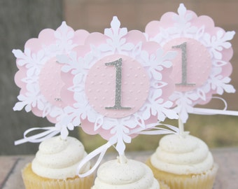 winter onederland cupcake toppers, party decorations, snowflake toppers, pink and silver, party decor, snowflake decor, snowflake picks