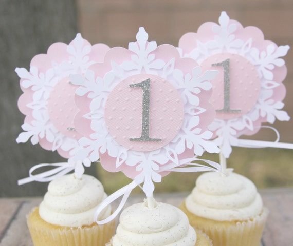 Winter onederland cupcake toppers party decorations