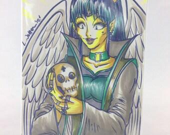 """ORIGINAL ARTWORK - 5"""" x 7"""" - Original Character - Villainous Sorceress Friend"""