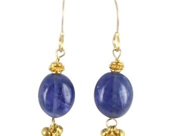 Tanaznite Earrings 18k Gold Dangles