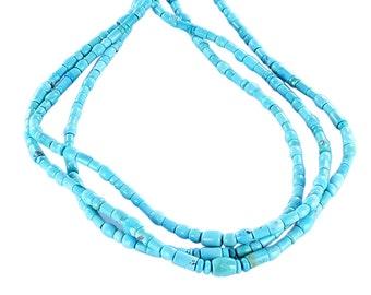Sleeping Beauty Turquoise Beads Mixed Barrel Tube Drum