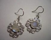 Rainbow Moonstone earrings, sterling silver, dangle earrings, natural Moonstone, natural gemstone, flower earrings, dainty silver earrings