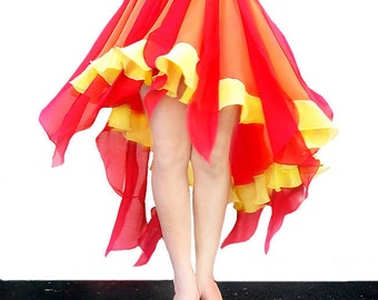 Fire color High-Low Skirt Ameynra design Red Orange Yellow chiffon - All sizes