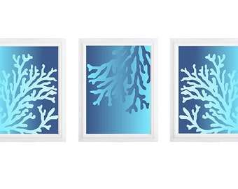 Ombre Blue Sea Plants turquoise pattern  -Set of 3, Custom color available Vintage / Modern inspired Print Collection- sea weed print