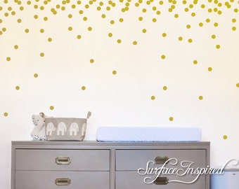 "Wall Decals Gold Polka Dots Nursery And Home Wall Decal Decor Stickers Confetti Polka Dot Gold Wall Decals 1"", 1.5"", 2"", 2.5"", 3"" dots"