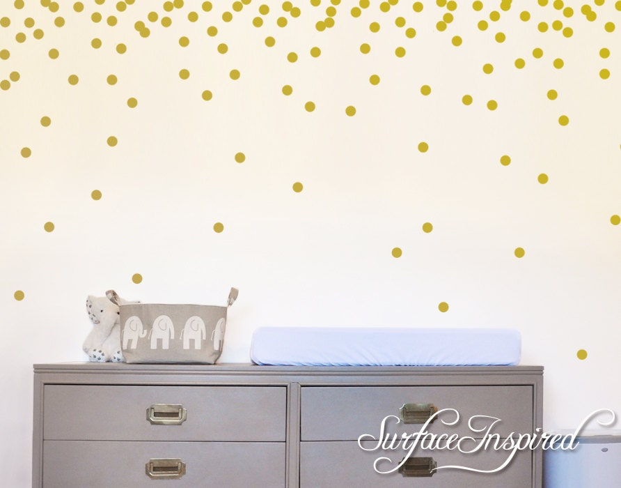 wall decals gold polka dots nursery and home wall decal decor. Black Bedroom Furniture Sets. Home Design Ideas