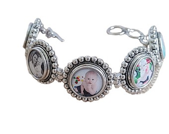 Snap jewelry Bracelet christmas gift adjustable Bracelet with 5 Interchangeable Snap In Photo Charms Snap charms gift for her mothers gift