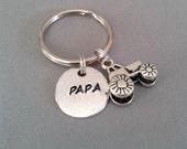 Papa Handstamped Keyring with Tractor Charm