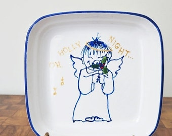 Vintage Pfaltzgraff Christmas Dish Angel And Holly Hand Decorated