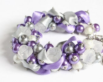 Purple Silver Rose Cluster Bracelet and Earrings Set