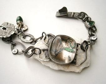 Quartz with Pyrite Inclusions/Rose Cut Green Tourmaline/Fig Beetle Leg Specimen Contraption Bracelet