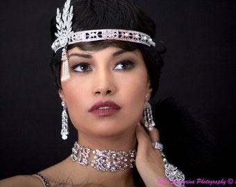 Pearl Crystal Headpiece, Pearl Rhinestone Headpiece, Pearl Bridal Headpiece, Pearl Wedding Headpiece