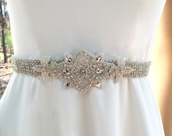 Beaded Rhinestone Sash, Bridal Gown Accessory,  Crystal Bridal Belt,  Formal Occasion Belt, Wedding Crystal Belt, Wedding Crystal Sash