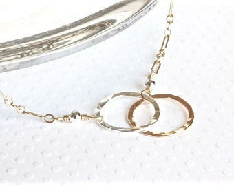 Double Ring Necklace, Gold and Silver Necklace, Infinity Necklace, Plus Sizes, SRAJD, Handmade in USA