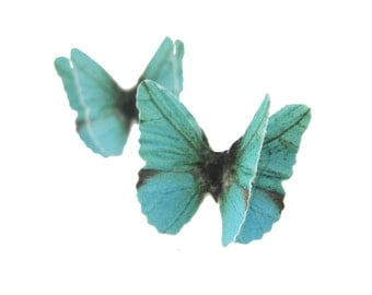 Hypoallergenic Earring Studs - Almost Real Butterfly Wings Jewelry - Cute Teal Stud Earring - 925 Sterling Silver Jewelry