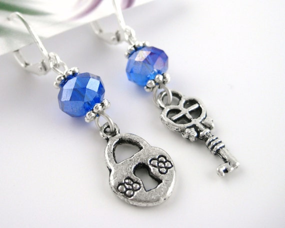 Mismatch Earrings - Lock and Key Jewelry - Blue Crystal Earrings - Sterling Silver Dangle Earrings - Key Earrings - Clip Dangle Earings