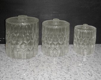 Retro Lucite Canister Set Mid Century Modern Canisters Three Canisters