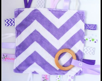Purple Chevron Minky Crinkle Crackle Toy with pacifier clip or binky holder - Wooden Teething Blanket