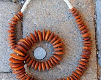 African Bone Beads: Orange/Brown Discs
