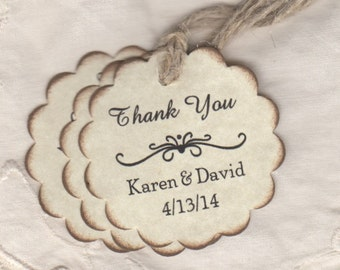 50 Personalized Wedding Favor Thank You Gift Tags / Shower Favor Tags / Labels Hang Tags - Rustic Vintage Style