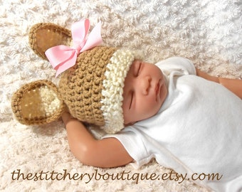 Bunny hat ready to ship newborn girl baby bunny hat photo prop hat easter crochet bunny ears tan pinkcoming home outfit clothes
