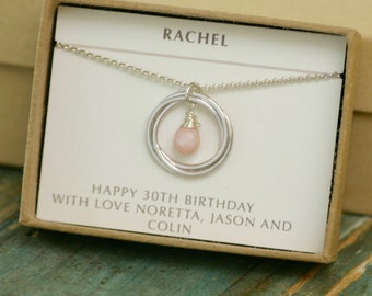 30th birthday gift, October birthstone necklace pendant, pink opal jewelry for new mom necklace for daughter - Lilia