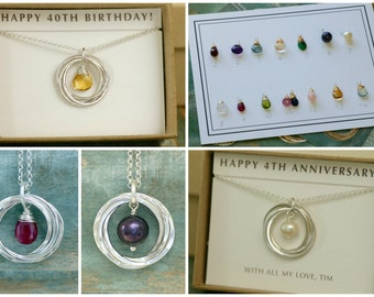 40th birthday gift for her, custom birthstone necklace, 4 interlocking rings necklace for girlfriend gift for 4th anniversary - Lilia