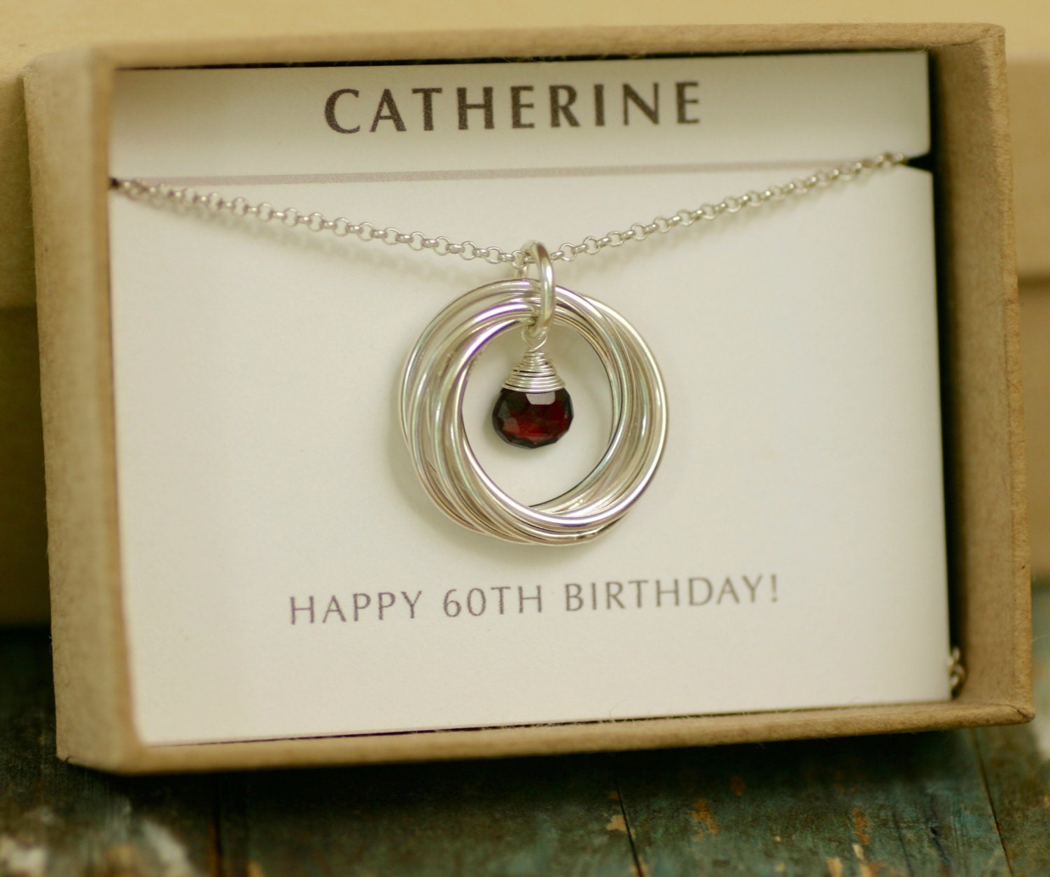 60th Birthday Gift For Mother Necklace Garnet Jewelry For