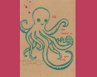 Letterpress Card Octopus Hand Carved